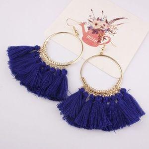 Jewelry - NEW COLOR! Long Fringe Boho Earrings DEEP BLUE